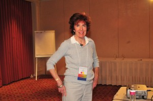 Conference photo in gray sweater